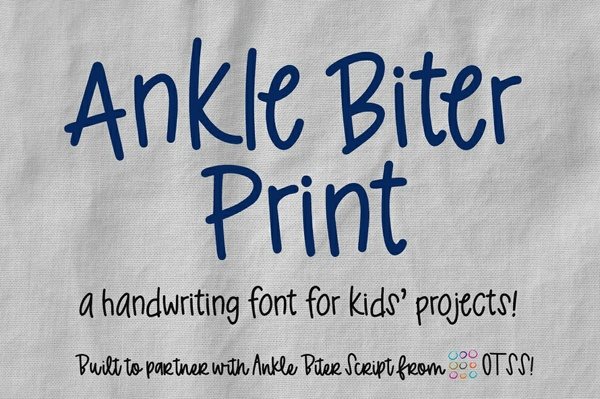 Ankle Biter Print: a kid-like handwriting font!