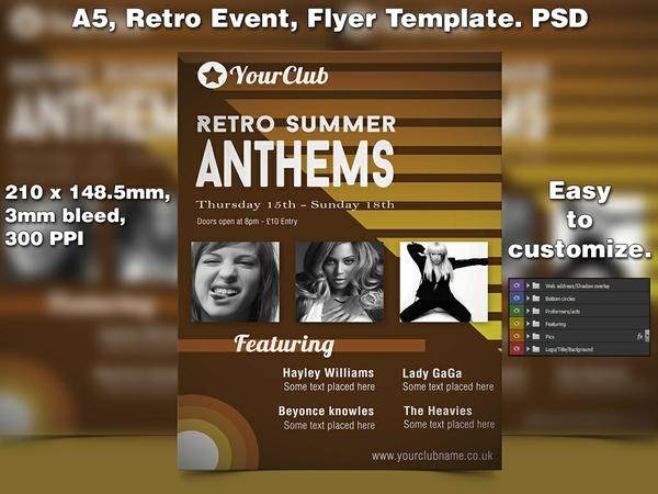 Retro Event Flyer Template (A5 PSD)