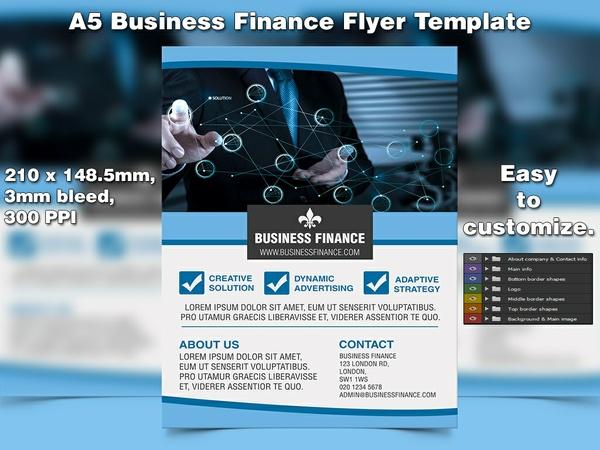 Business Finance Flyer Template (A5, PSD)