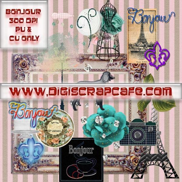 Bonjour Paris Digital Scrapbook Kit