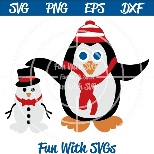 Snowman Penguin, PNG, EPS, DXF and SVG Cut File, High Resolution Printable Graphics