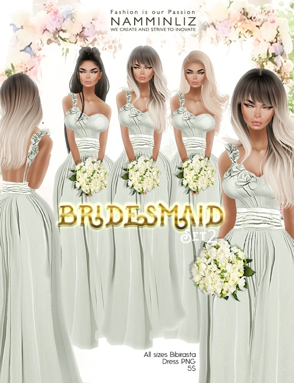 Bridesmaid set2 imvu Bibirasta dress all sizes PNG