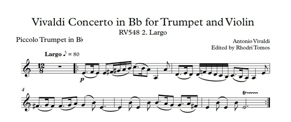 Vivaldi RV548 Trumpet, Violin & Strings Concerto. Accompaniment Mp3 And Trumpet Solo Pdf Sheet Music