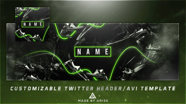 Free Abstract Twitter Header/AVI Template PSD! (Customizable Color and Text!)