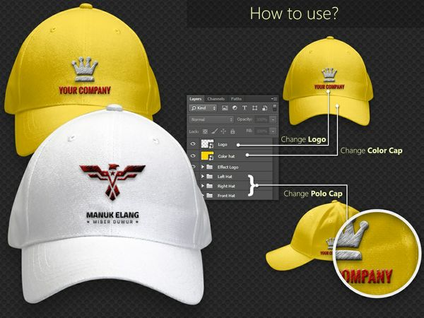 Polo Cap with Realistic Embroidered Logo Mockup