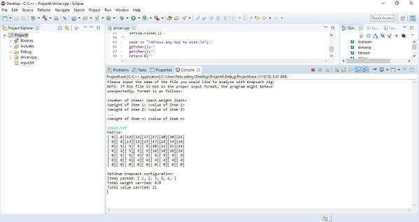 CS 340 Programming Assignment VI:  Knapsack via Dynamic Programming