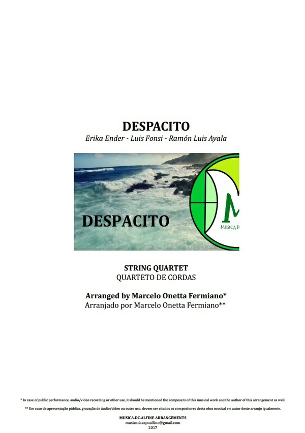 Despacito | Luis Fonsi | Quarteto de Cordas | Partitura Completa Download