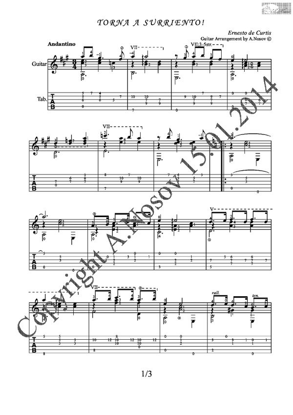 Torna a Surriento (E.Curtis) Sheet music for guitar