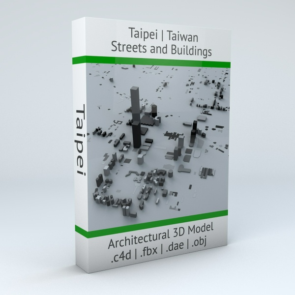 Taipei City Streets and Buildings Architectural 3D Model