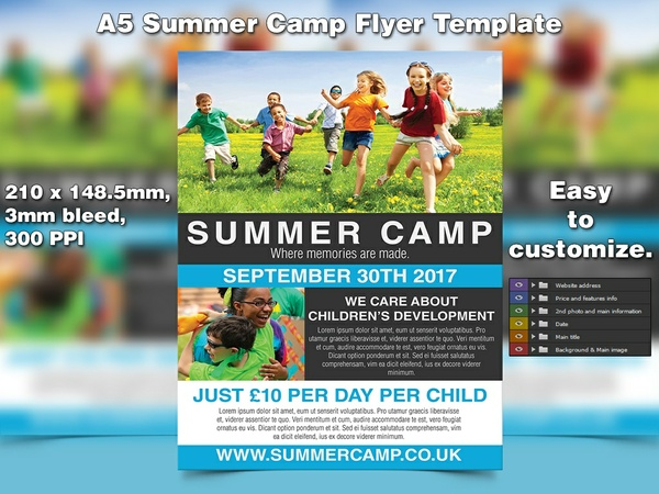 Summer Camp Flyer Template (A5, PSD)