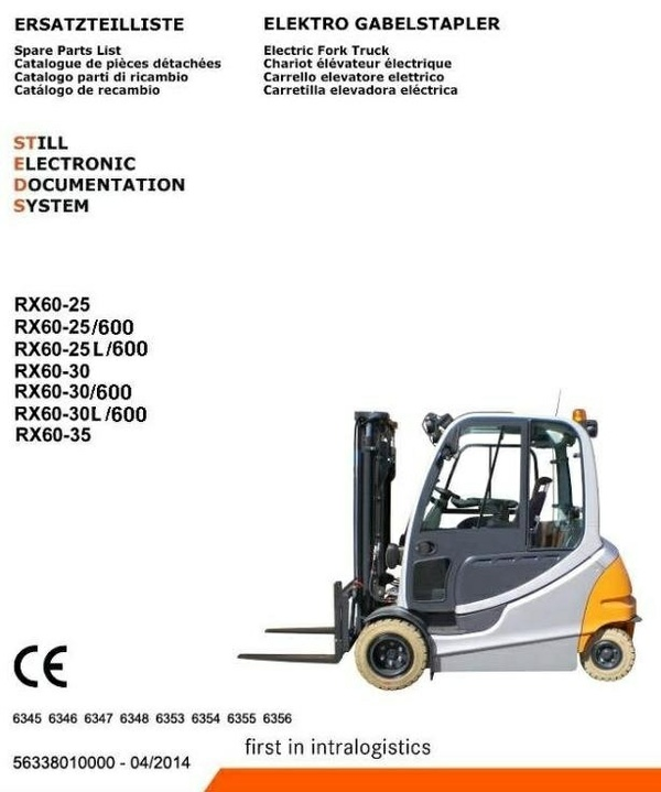 Still Forklift Truck RX60-25,-30,-35: 6345, 6346, 6347, 6348, 6353, 6354, 6355, 6356 Parts Manual