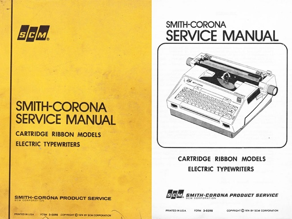 Smith-Corona Cartridge Ribbon Electric Portable Typewriter Repair Adjustment Service Manual