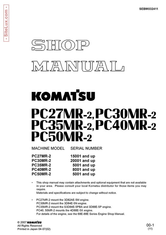 Komatsu PC27MR-2, PC30MR-2, PC35MR-2, PC40MR-2, PC50MR-2 Excavator Shop Manual - SEBM032411