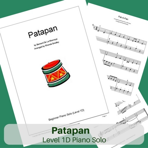 Patapan Easy Piano Sheet Music Level 1A