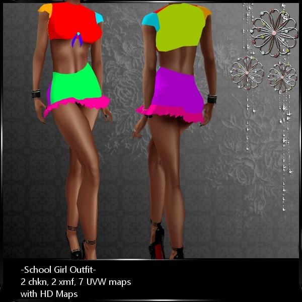 IMVU Mesh School Girl Outfit HD