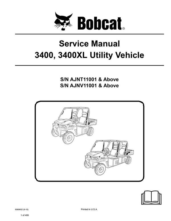 Bobcat 3400, 3400XL UTV Service Repair Manual PDF S/N AJNT, AJNV
