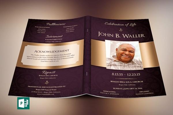 Vintage Lavender Dignity Funeral Program Publisher Template