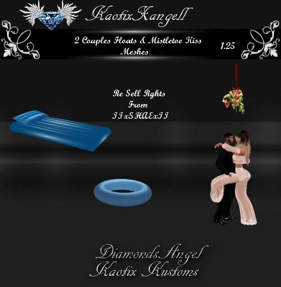 2 Couples Floats & Mistletoe Kiss Meshes