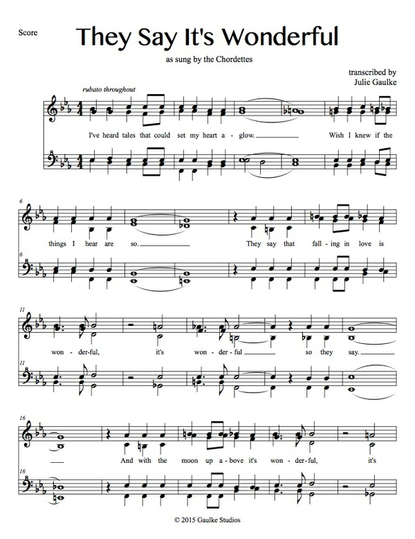 They Say It's Wonderful (Chordettes) transcription
