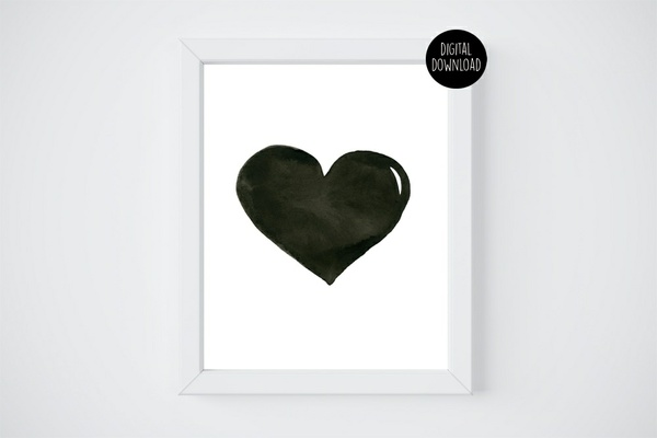 black watercolor heart watercolor painting // 8x10 // printable digital download