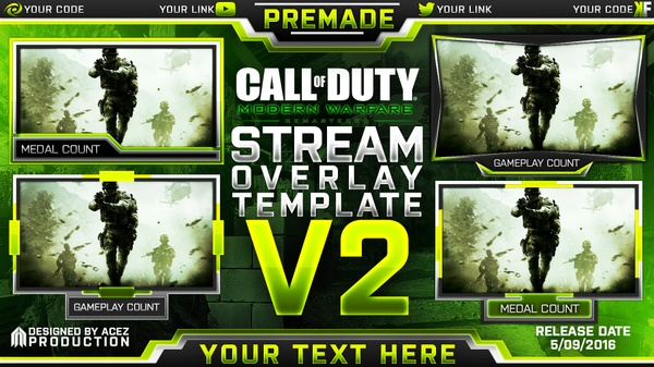 Stream Overlay Template Pack V2 - Modern Warfare Remastered - Updated - Photoshop Template