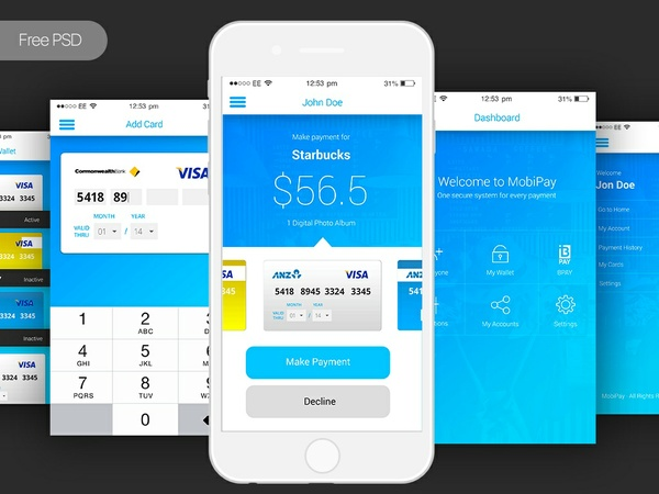 Free PSD Mobile App Payment App UI Template