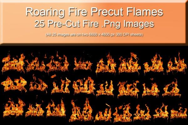 25 Pre-Cut Fire Png Files