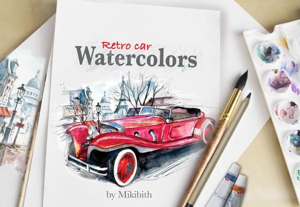 """ Retro cars"" watercolor set"