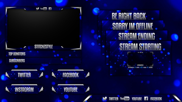 Bokeh Twitch Stream Rebrand Template (Overlay, Offline Screen, HUD and Panels)