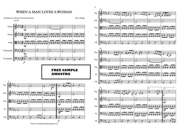 String Quintet  - When a Man Loves a Woman - Score and parts - Sheet Music