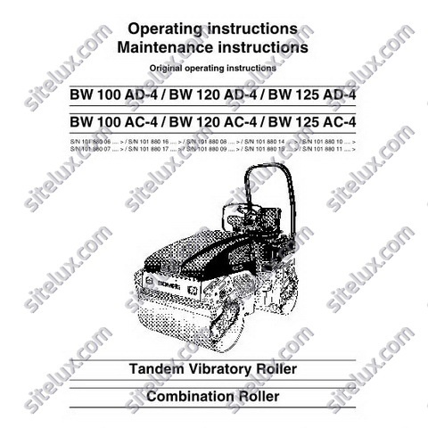 Bomag Tandem Vibratory Roller / Combination Roller Operation & Maintenance Manual Instructions