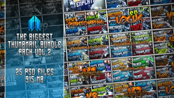 Biggest Thumbnail Template Bundle Pack Ever - Vol.2 - 25 Photoshop Template Packs