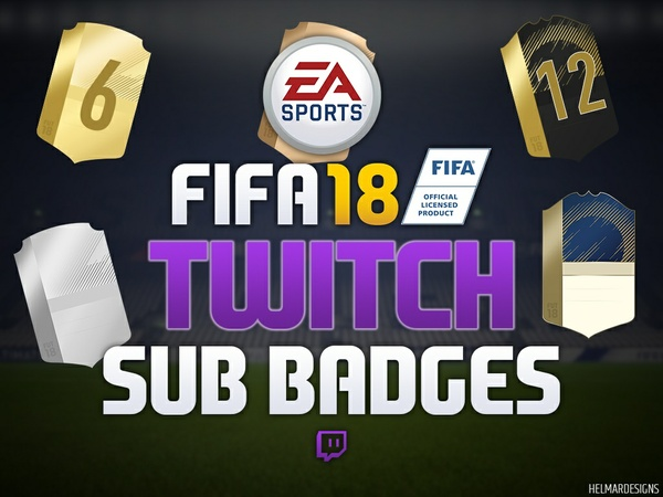 FIFA 18 Card Twitch Subscriber Badges (Plain & Numbered)