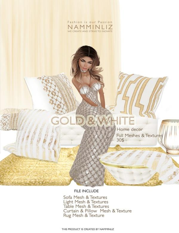 Gold & White imvu Full mesh & texture JPG, XSF, XMF, CHKN files