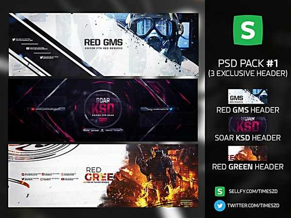 PSD Pack #1 (3 HEADERS)