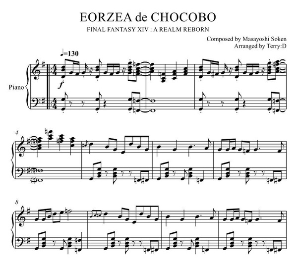 """Eorzea de Chocobo(Arr.by Terry:D)"" for Piano solo from Final Fantasy XIV"