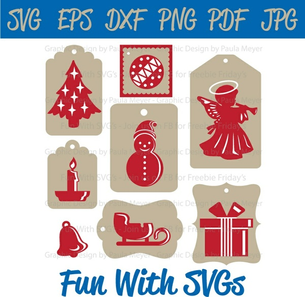 Christmas Tags in Red and White 2, SVG Files, Elf, Santa, Ginger Bread, Stocking, Star, Reindeer