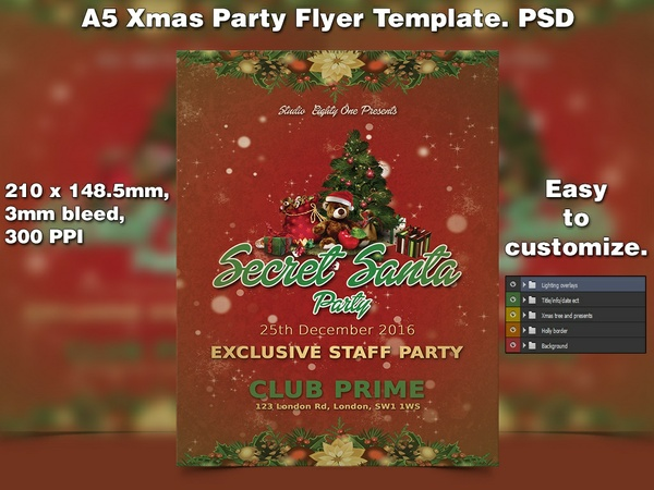 X-mas Flyer Template 7 (A5 PSD)