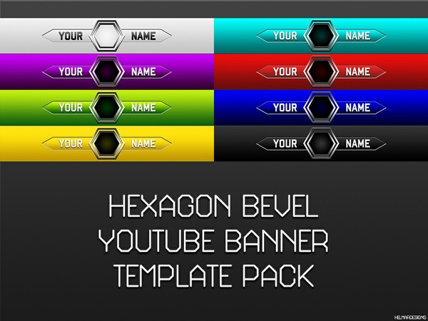 Hexagon Bevel YouTube Banner Template Pack