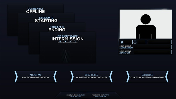 Animated Blue Twitch Stream Rebrand and Overlay Template
