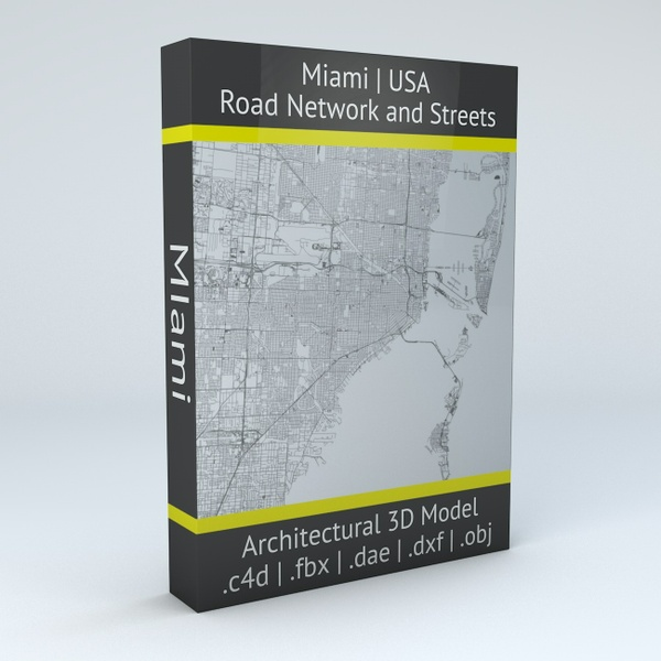 Miami Road Network Architectural 3D Model
