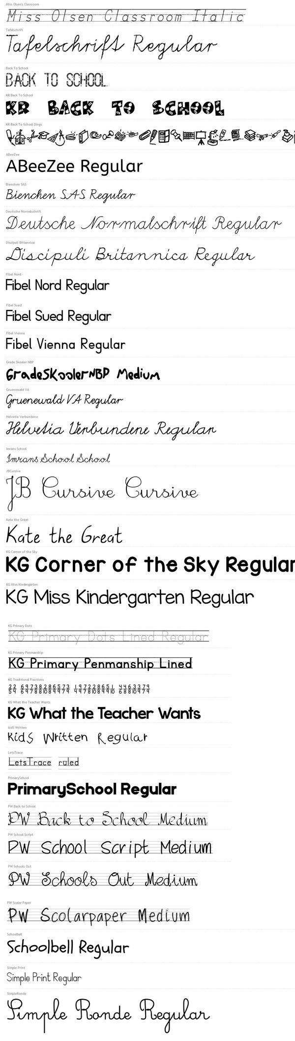 Elementary School Themed Fonts (MEGA PACK) - Over 30+ Fonts