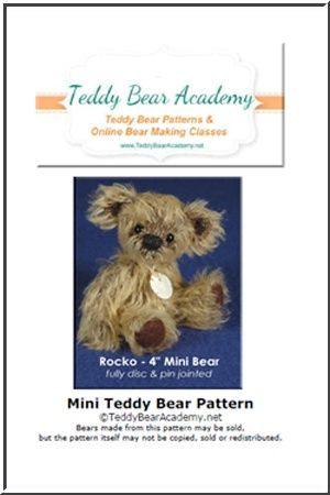 """Rocko - 4"""" Miniature Teddy Bear Pattern w/ resell rights of finished bears"""