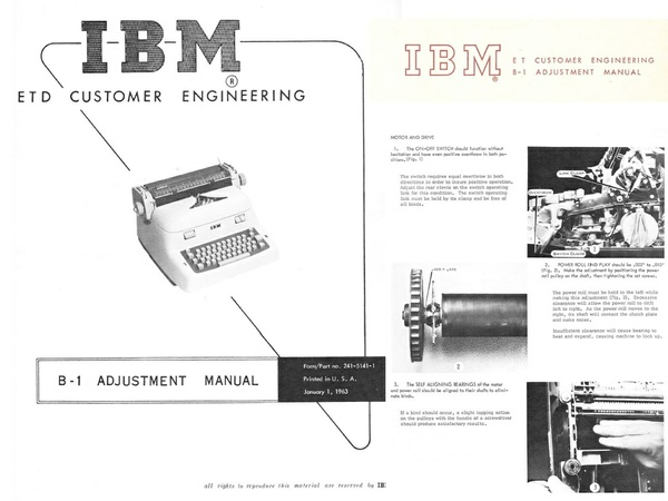 IBM A and B Model Typewriter Service Repair Adjustment Manual