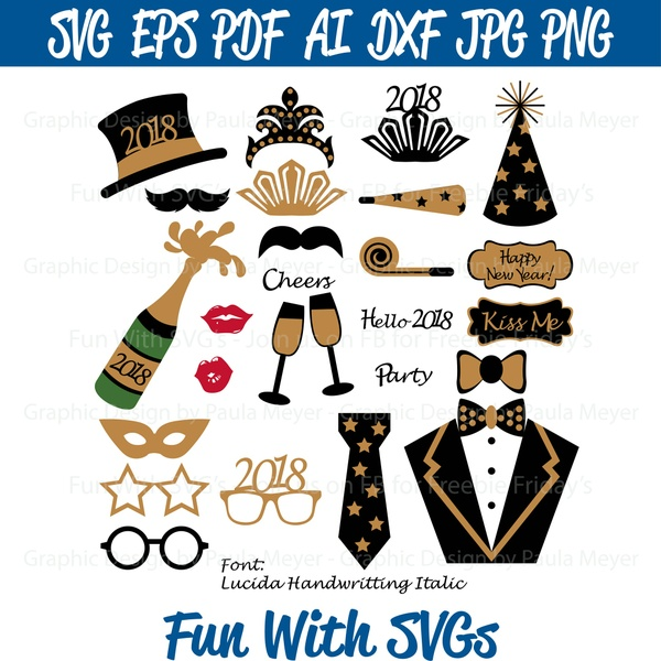 New Years Eve 2018 Photo Booth Props - SVG Cut File, Printable Graphics and Editable Vector Art