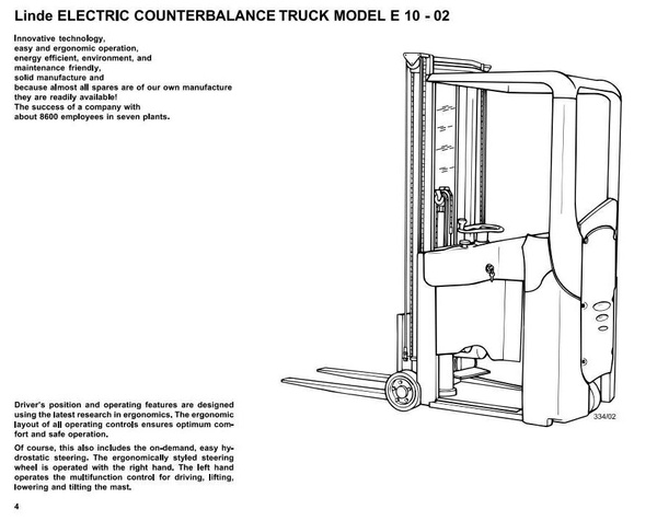 Linde Electric Forklift Truck Type 334-02: E10-02 Operating and Maintenance Instructions