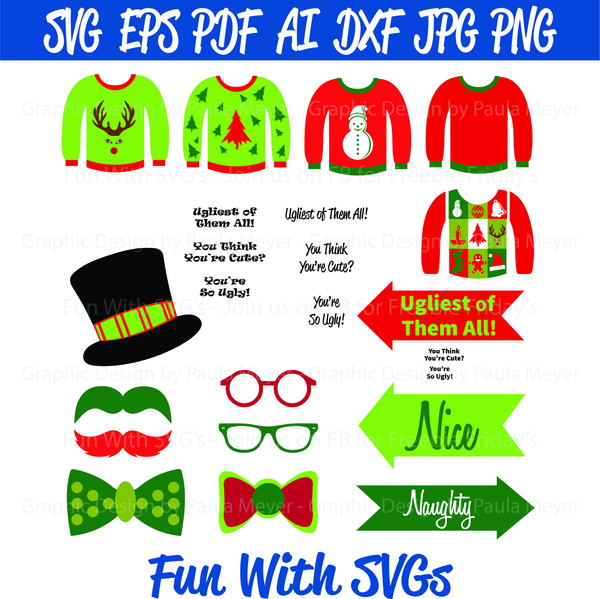 Ugly Sweater Photo Booth Props - SVG Cut File, High Res. Printable Graphics and Editable Vector Art
