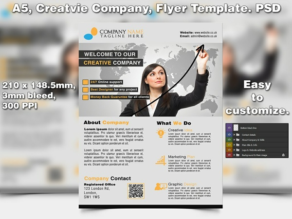Creative Company Flyer Template (A5 PSD)