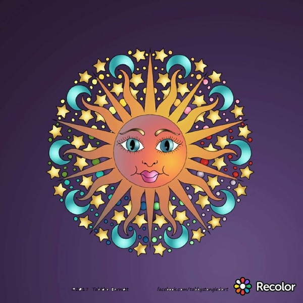 Celestial Mandalas Coloring Pack (7 hand drawn mandalas PDF)