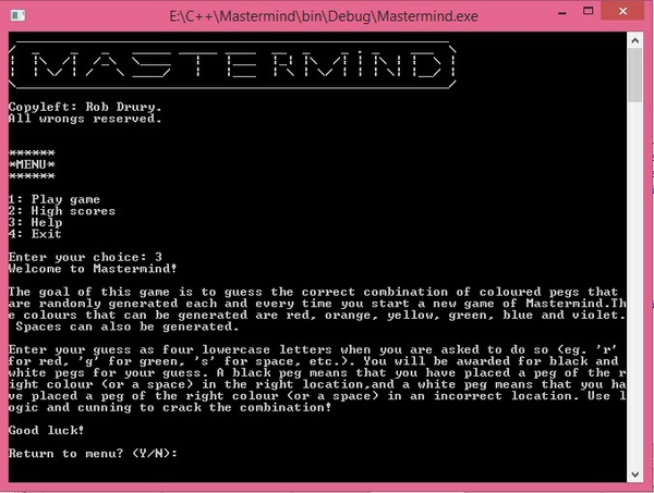 2015 Fall Computer Science I Program #3: Mastermind